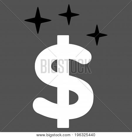Sparkle Dollar Symbol flat icon. Vector bicolor black and white symbol. Pictogram is isolated on a gray background. Trendy flat style illustration for web site design, logo, ads, apps, user interface.