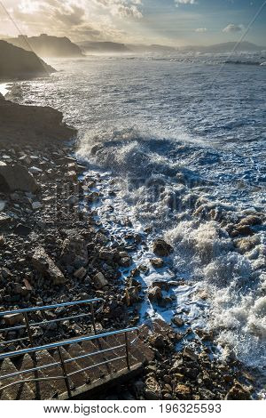 Very high tide in Sopelana beach Basque Country in Spain