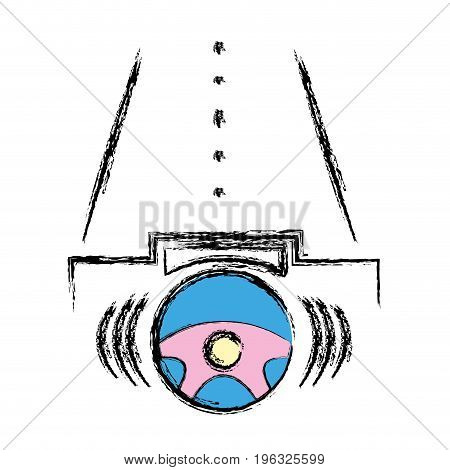steering wheel futuristic car in the road vector illustration