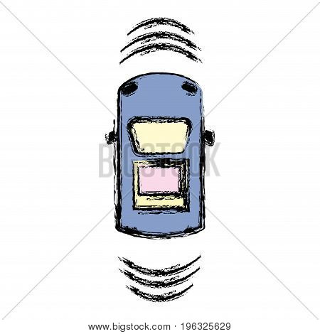 car transportation from above with sunroof vector illustration