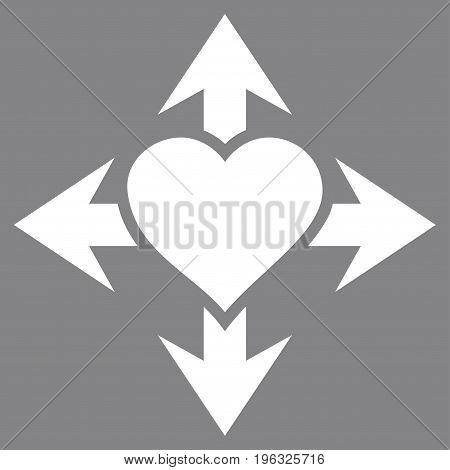 Expand Love Heart flat icon. Vector white symbol. Pictogram is isolated on a gray background. Trendy flat style illustration for web site design, logo, ads, apps, user interface.