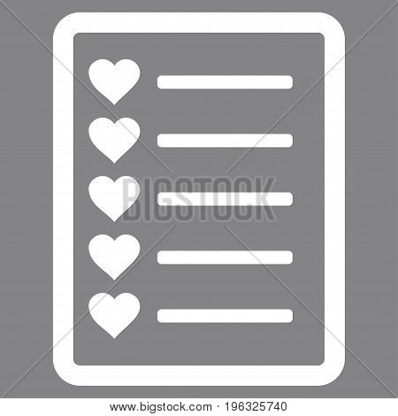 Favourites List Page flat icon. Vector white symbol. Pictogram is isolated on a gray background. Trendy flat style illustration for web site design, logo, ads, apps, user interface.