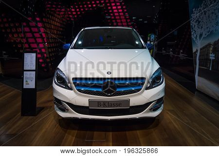 BERLIN - JANUARY 24 2015: A compact luxury car Mercedes-Benz B-Class Electric Drive. The first production car with an electric engine. Produced since 2014.