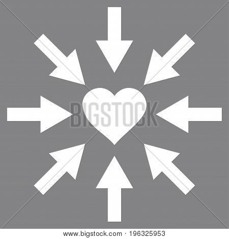 Impact Love Heart flat icon. Vector white symbol. Pictograph is isolated on a gray background. Trendy flat style illustration for web site design, logo, ads, apps, user interface.