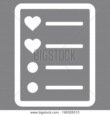 Love List Page flat icon. Vector white symbol. Pictogram is isolated on a gray background. Trendy flat style illustration for web site design, logo, ads, apps, user interface.