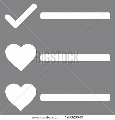 Love List flat icon. Vector white symbol. Pictogram is isolated on a gray background. Trendy flat style illustration for web site design, logo, ads, apps, user interface.