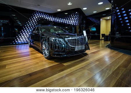 BERLIN - JANUARY 24 2015: Full-size luxury car Mercedes-Benz S350 BT Lang (W222). Produced since 2013.