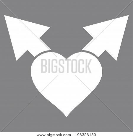 Love Variant Arrows flat icon. Vector white symbol. Pictogram is isolated on a gray background. Trendy flat style illustration for web site design, logo, ads, apps, user interface.