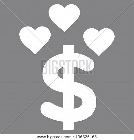 Lovely Dollar flat icon. Vector white symbol. Pictograph is isolated on a gray background. Trendy flat style illustration for web site design, logo, ads, apps, user interface.