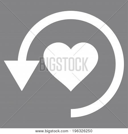 Refresh Love flat icon. Vector white symbol. Pictogram is isolated on a gray background. Trendy flat style illustration for web site design, logo, ads, apps, user interface.