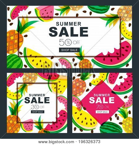 Summer Sale Vector Banners Set With Fresh Red And Yellow Watermelon And Pineapples.