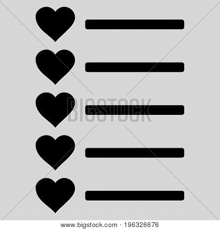 Favourites List flat icon. Vector black symbol. Pictogram is isolated on a light gray background. Trendy flat style illustration for web site design, logo, ads, apps, user interface.