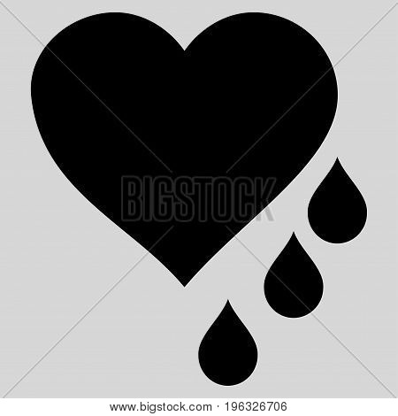 Heart Blood Drops flat icon. Vector black symbol. Pictograph is isolated on a light gray background. Trendy flat style illustration for web site design, logo, ads, apps, user interface.