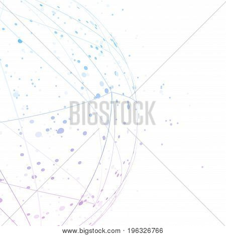 Abstract scientifical blue connection semisphere background layout. Global digital network hi-tech concept. Vector illustration