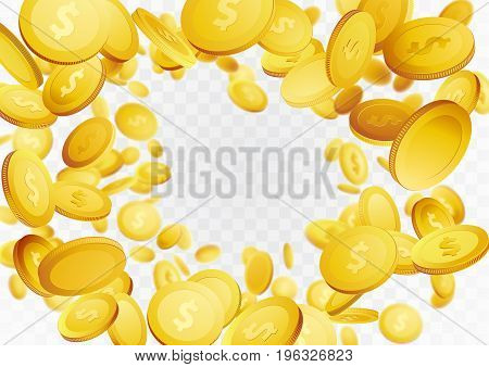 Abstract realistic coin swirl fortune frame background. Casino success golden money or chips hovering in the air. Vector illustration
