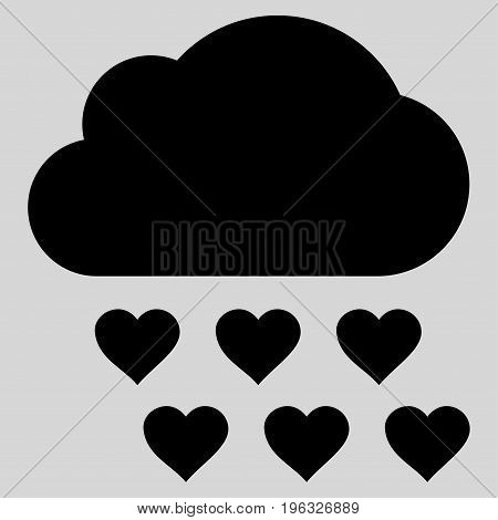 Love Rain Cloud flat icon. Vector black symbol. Pictograph is isolated on a light gray background. Trendy flat style illustration for web site design, logo, ads, apps, user interface.