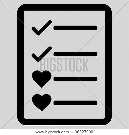 Lovely List Page flat icon. Vector black symbol. Pictograph is isolated on a light gray background. Trendy flat style illustration for web site design, logo, ads, apps, user interface.