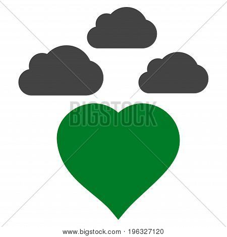 Cloudy Love Heart flat icon. Vector bicolor green and gray symbol. Pictogram is isolated on a white background. Trendy flat style illustration for web site design, logo, ads, apps, user interface.