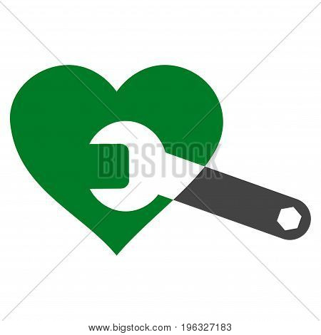 Heart Surgery Wrench flat icon. Vector bicolor green and gray symbol. Pictograph is isolated on a white background. Trendy flat style illustration for web site design, logo, ads, apps, user interface.