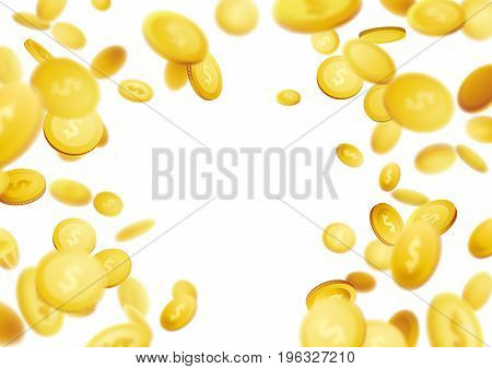 Golden coins defocused flying abstract 3D realistic background. Realistic money explosion isolated over white layout. Big jackpot casino lottery win. Vector illustration