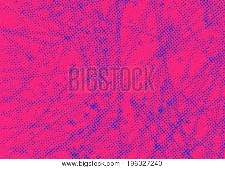 Bright red blue old style dotted modernistic layout. Graphic vintage halftone retro pattern background. Vector illustration