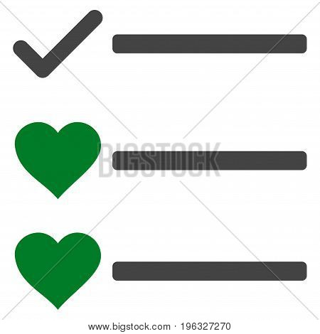 Love List flat icon. Vector bicolor green and gray symbol. Pictograph is isolated on a white background. Trendy flat style illustration for web site design, logo, ads, apps, user interface.