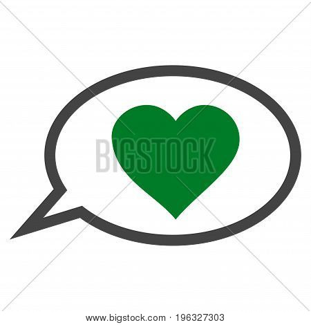 Love Message Balloon flat icon. Vector bicolor green and gray symbol. Pictograph is isolated on a white background. Trendy flat style illustration for web site design, logo, ads, apps, user interface.