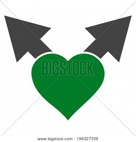 Love Variant Arrows flat icon. Vector bicolor green and gray symbol. Pictograph is isolated on a white background. Trendy flat style illustration for web site design, logo, ads, apps, user interface.