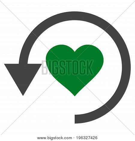 Refresh Love flat icon. Vector bicolor green and gray symbol. Pictograph is isolated on a white background. Trendy flat style illustration for web site design, logo, ads, apps, user interface.