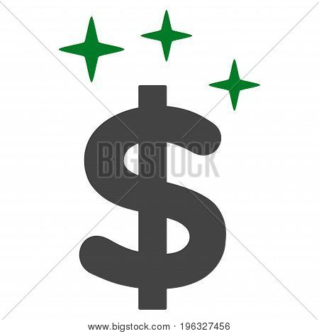 Sparkle Dollar Symbol flat icon. Vector bicolor green and gray symbol. Pictograph is isolated on a white background. Trendy flat style illustration for web site design, logo, ads, apps,