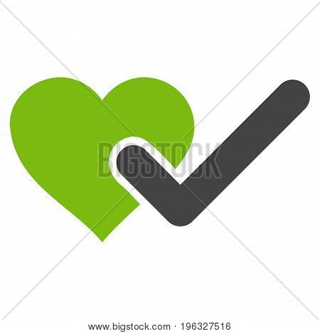 Checked Love Heart flat icon. Vector bicolor light green and gray symbol. Pictogram is isolated on a white background. Trendy flat style illustration for web site design, logo, ads, apps,