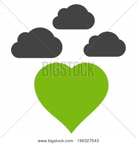 Cloudy Love Heart flat icon. Vector bicolor light green and gray symbol. Pictograph is isolated on a white background. Trendy flat style illustration for web site design, logo, ads, apps,