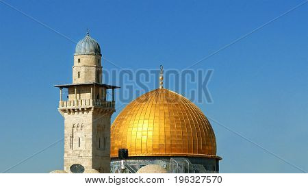 Golden Dome of the Rock in Jerusalem. Dome of the Rock is located on the top of the Temple Mount in Jerusalem, Israel.