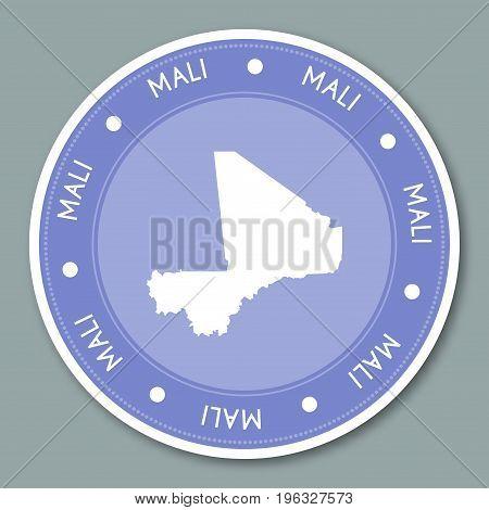 Mali Label Flat Sticker Design. Patriotic Country Map Round Lable. Country Sticker Vector Illustrati