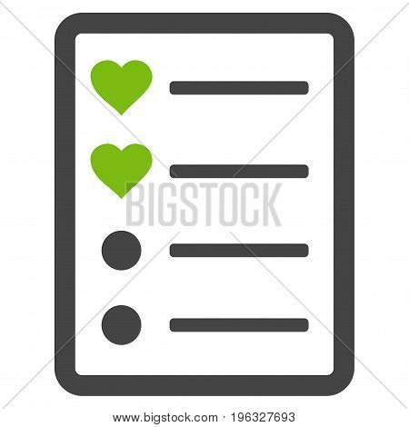 Love List Page flat icon. Vector bicolor light green and gray symbol. Pictogram is isolated on a white background. Trendy flat style illustration for web site design, logo, ads, apps, user interface.