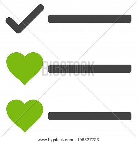 Love List flat icon. Vector bicolor light green and gray symbol. Pictograph is isolated on a white background. Trendy flat style illustration for web site design, logo, ads, apps, user interface.