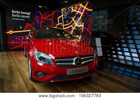 BERLIN - JANUARY 24 2015: Showroom. Compact car Mercedes-Benz A200 CGI BE. Produced since 2013.