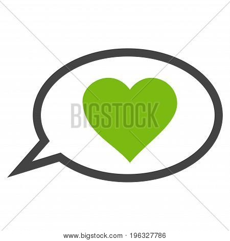 Love Message Balloon flat icon. Vector bicolor light green and gray symbol. Pictogram is isolated on a white background. Trendy flat style illustration for web site design, logo, ads, apps,