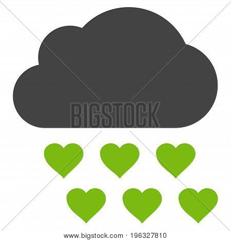 Love Rain Cloud flat icon. Vector bicolor light green and gray symbol. Pictogram is isolated on a white background. Trendy flat style illustration for web site design, logo, ads, apps, user interface.