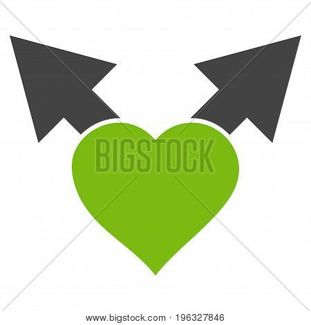 Love Variant Arrows flat icon. Vector bicolor light green and gray symbol. Pictograph is isolated on a white background. Trendy flat style illustration for web site design, logo, ads, apps,