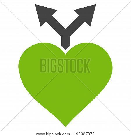 Love Variants flat icon. Vector bicolor light green and gray symbol. Pictogram is isolated on a white background. Trendy flat style illustration for web site design, logo, ads, apps, user interface.