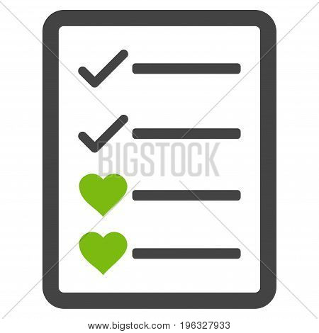 Lovely List Page flat icon. Vector bicolor light green and gray symbol. Pictogram is isolated on a white background. Trendy flat style illustration for web site design, logo, ads, apps,