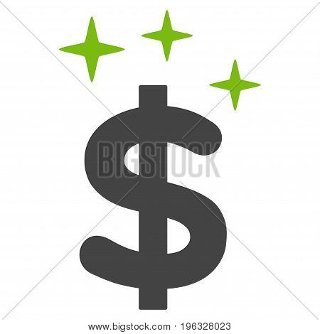 Sparkle Dollar Symbol flat icon. Vector bicolor light green and gray symbol. Pictogram is isolated on a white background. Trendy flat style illustration for web site design, logo, ads, apps,