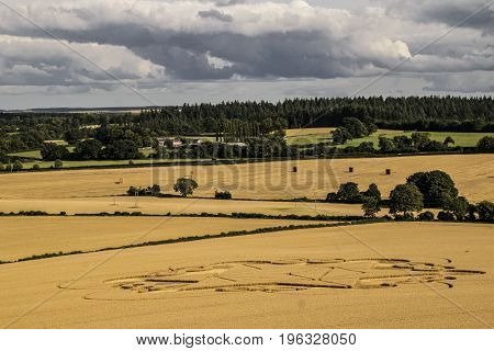 Aerial view from Cley hill in England in Wiltshire.