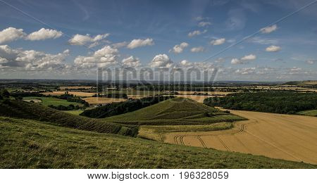 Cley hill,aerial view near Warminster,landscape,while a summer day.
