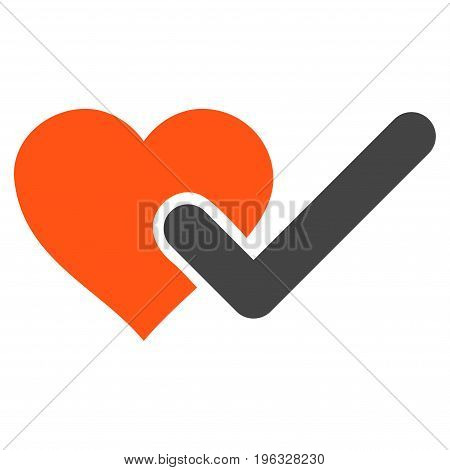 Checked Love Heart flat icon. Vector bicolor orange and gray symbol. Pictograph is isolated on a white background. Trendy flat style illustration for web site design, logo, ads, apps, user interface.
