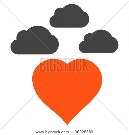 Cloudy Love Heart flat icon. Vector bicolor orange and gray symbol. Pictograph is isolated on a white background. Trendy flat style illustration for web site design, logo, ads, apps, user interface.