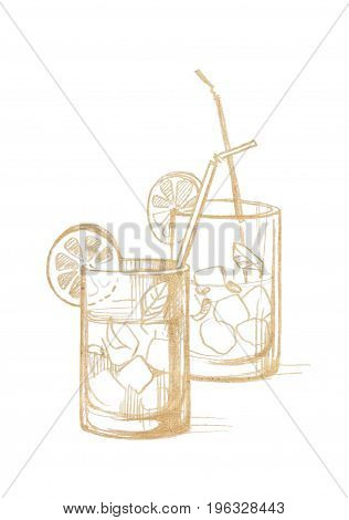 Two glass glasses with ice lemon mint leaves and cocktail tubes. Graphic linear tonal drawing by slate pencil. Sepia toned paper. Isolated on white background