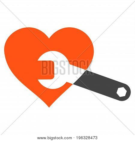 Heart Surgery Wrench flat icon. Vector bicolor orange and gray symbol. Pictogram is isolated on a white background. Trendy flat style illustration for web site design, logo, ads, apps, user interface.