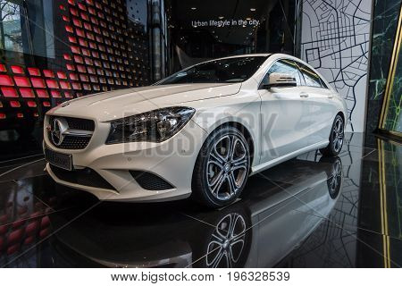 BERLIN - JANUARY 24 2015: Showroom. Compact executive car Mercedes-Benz CLA200. Produced since 2013.